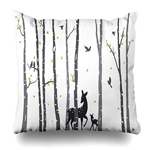 (Ahawoso Throw Pillow Cover Romantic Birch Tree Deer Birds Aspen Abstract Autumn Bark Branch Couple Design Natural Home Decor Cushion Case Square Size 20