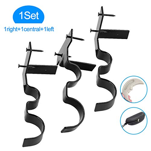 Yoaokiy Double Curtain Rod Brackets, 3Pcs, Curtain Rod Holders for Living Room and Bedroom(Black)