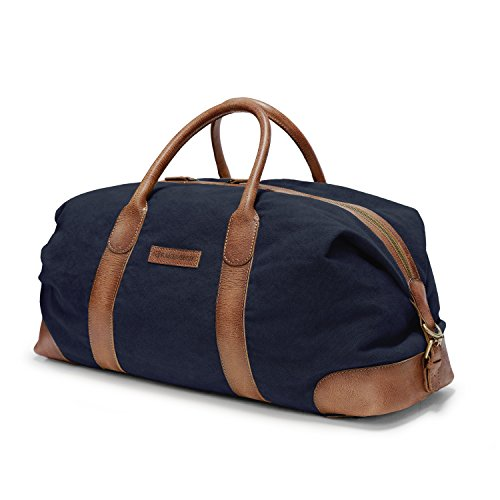 Navy canvas cow bag cognac Eastport carry leather italian Blue travel off stripes holdall large brown DRAKENSBERG white style all Weekender Duffel preppy luxury AnxCv1qp
