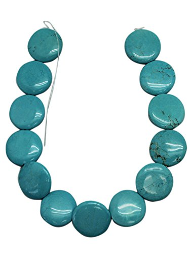 Puffed Blue Turquoise With Rusty Matrix Coin Bead Strand (32mm) (Beads Coin Puffed)