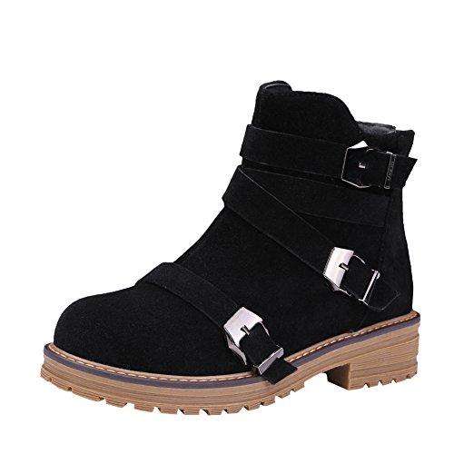 Mee Shoes Damen bequem Blockabsatz kurzschaft Reißverschluss Ankle Boots Schwarz