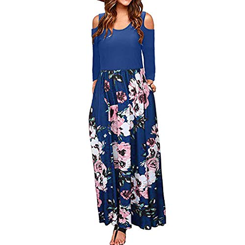 The Best Easter Gift!!!Aries Esther 2019 Women's Cold Shoulder Floral Print Elegant Maxi Long Sleeve Dress with Pocket ()
