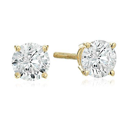 IGI Certified 14k Yellow Gold Round-Cut Diamond Stud Earrings (1 cttw, H-I Color, I1 Clarity) (I Carat Diamond Ring)