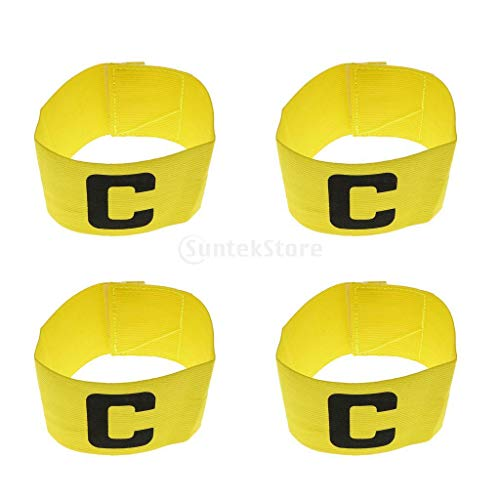 4 Pieces Adjustable Soccer Captain Armband Football Basketball Sport Elastic Player Leader Arm Bands Yellow