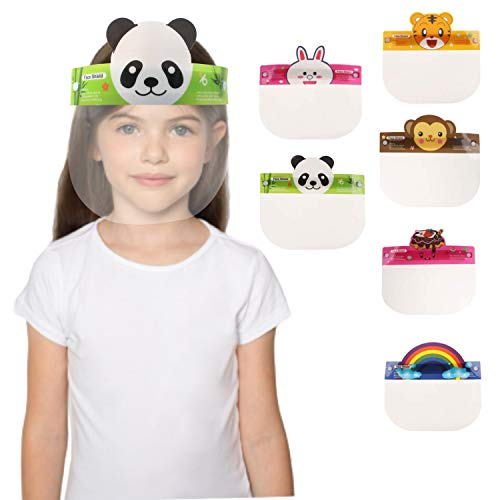 6 Pcs KIDS Reusable Plastic Face Shields Face Cover Clear with Six Different Fun Images Includes Visor Elastic Band…