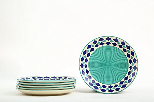 Stonish Dinner Plate with Blue Diamond Pattern Handmade Pottery  Sea Green, 8 inches    Set of 6 Pieces