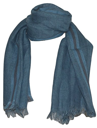 Hand Spun, Handwoven Shorty Weave Pure Linen Fabric Triple Stripe edge Scarf. X1425 by Exclusive Handcrafts (Image #6)