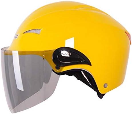ZJJ ヘルメット- パーソナライズ雨と紫外線保護ヘルメット、電動二輪車ユニセックスヘルメット、W型レンズ (色 : 黄, サイズ さいず : 24x25cm)