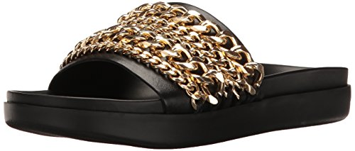 KENDALL + KYLIE Women's Shiloh2 Flat Sandal, Black/Gold, 11 M US by KENDALL + KYLIE
