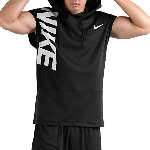 NIKE Mens Dry Hooded Sleeveless Training Hoodie 2.0 (Black/Black/White, Small)