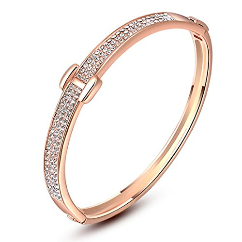 joyliveCY Women's Hand Chain Charm Bracelet Bling Simple Rose Gold Rhinestone by joyliveCY