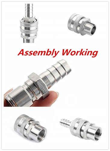 ProMaker 2pcs Brewing Stainless Steel 1/2'' Barb Male Quick Disconnect Homebrew Fitting Connector Homebrewing by ProMaker (Image #4)