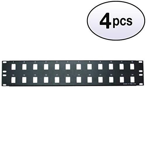 (GOWOS (4 Pack) Rackmount 24 Port Blank Keystone Patch Panel, 2U )