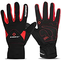INBIKE Men's Winter Cold Weather Thermal Windproof Gel Bike Gloves Red XX-Large