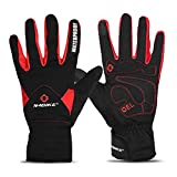 INBIKE Men's Winter Cold Weather Thermal Windproof Gel Bike Gloves Red Large
