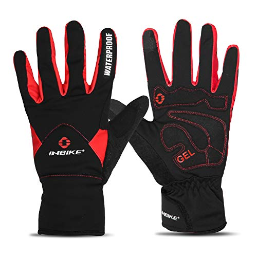 Fingered Cycling Glove - INBIKE Men's Winter Cold Weather Thermal Windproof Gel Bike Gloves Red X-Large