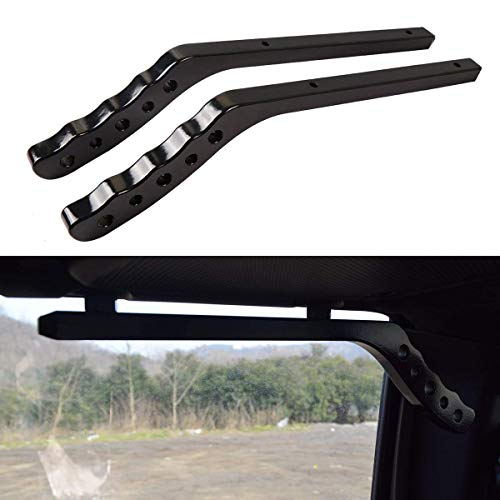 Iparts New Aluminum Grab Handle for Jeep Wrangler JK 07-17 4 Door - Pair (Rear Black) by Iparts