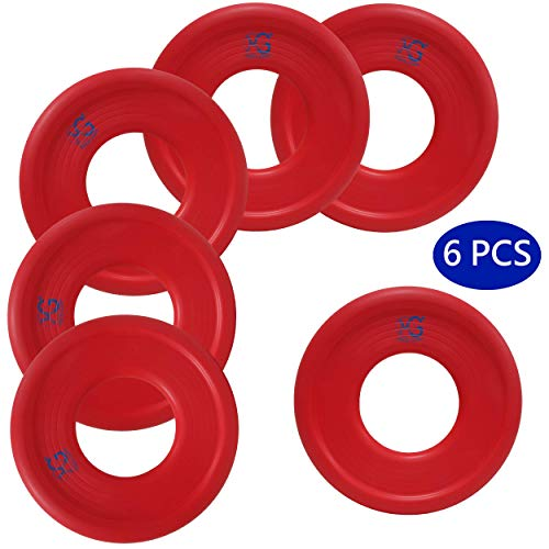 Macro Giant 9 Inch Soft Foam Frisbee Flying Discs, Set of 6, Red, Playground, Kid Sports Toy, Ring Toss Game, Parenting Activity, Outdoor Indoor, Camp Game