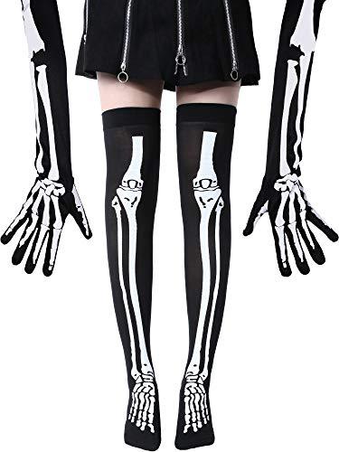 Jovitec Skeleton Printing Long Arm Full Finger Gloves and Skeleton Thigh High Socks Set for Cosplay Halloween Party