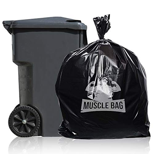 - Muscle Bag - 55 Gallon 1.5Mil Trash Bags, Individually Folded, 50 per case, Perforated Top for Easy Dispensing, Coex Plastic, 55gal Garbage Bags