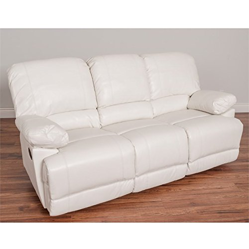 Cheap CorLiving LZY-311-S Lea Leather Reclining Sofa White
