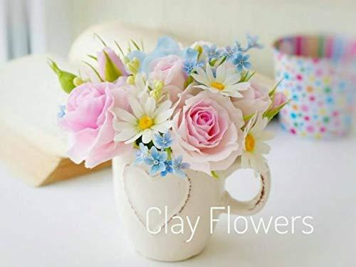 - daisy roses bouquet, clay flowers arrangement, daisy bouquet, roses arrangement, flowers centerpiece, housewarming gift, flowers arrangement, clay flower, cold porcelain, shabby chic