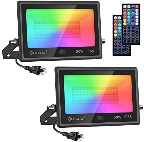 Onforu 2 Pack 50W LED RGB Flood Lights, Dimmable Color Changing Floodlight with 44 Keys Remote, IP66 Waterproof Outdoor Wall Washer Light with 20 Colors,6 Modes, Timing for Indoor, Party, Garden