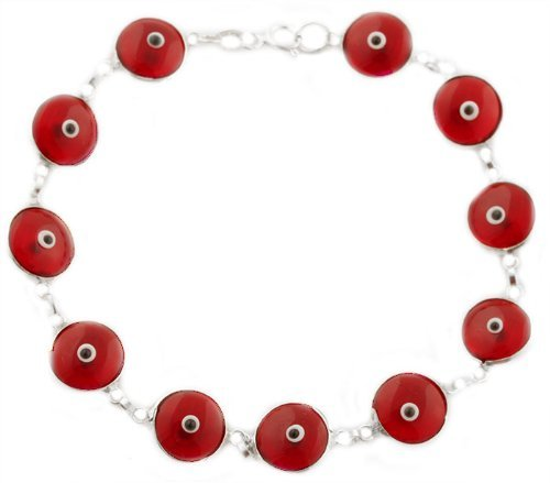 Sterling Silver with Red Sterling Silver 7 Inch Evil Eye Bracelet (I-700)