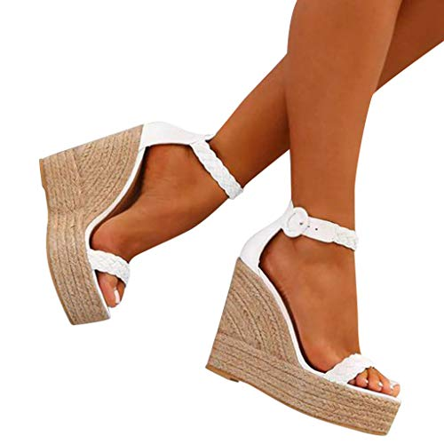 Sharemen Womens Platform Espadrille Wedges Peep Toe High Heel Sandals with Ankle Strap Buckle Up(White,US: 7.5) by Sharemen Shoes (Image #1)