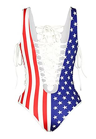 4a8f2e283be B-Sin Women s Front Side Lace up Monokini One Piece American Flag ...