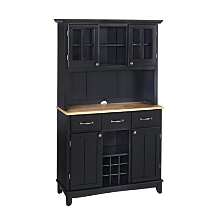 Black Server With Natural Wood Top And Two Door Hutch Large