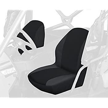 Rugged Ridge 63240.01 Black Fabric Seat Cover with Headrest Cover for Yamaha Rhino Pair