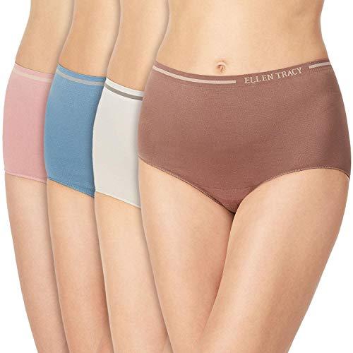ELLEN TRACY Essentials Womens Seamless Briefs 4-Pack Panties (Medium, Cornet Blue)