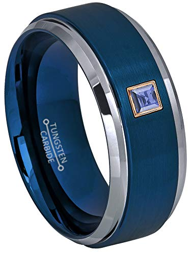 0.10ctw Solitaire Princess Cut Tanzanite Tungsten Ring - 9MM Brushed Blue Stepped Edge Tungsten Carbide Wedding Band - December Birthstone Ring - s13 ()