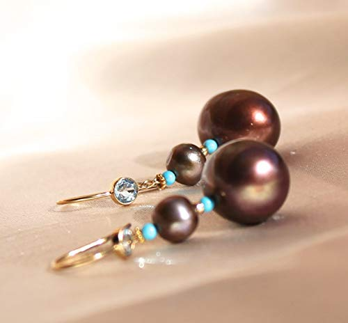 Chocolate pearl earrings with turquoise and 14K solid gold beads ()