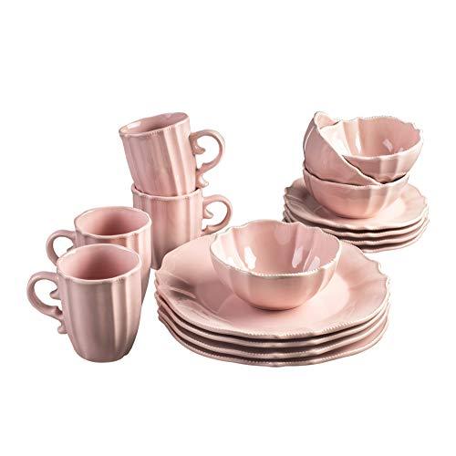 Pink Dinnerware Sets - American Atelier 7230-16PK-RB Rihanna 16 Piece