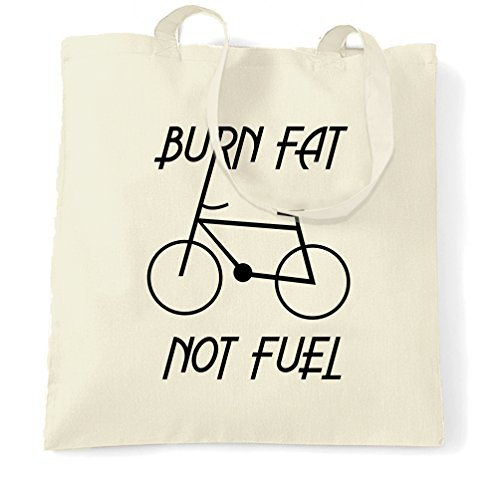 Eco Friendly Tote Bag Burn Fat, Not Fuel - Cycle Logo Natural One Size