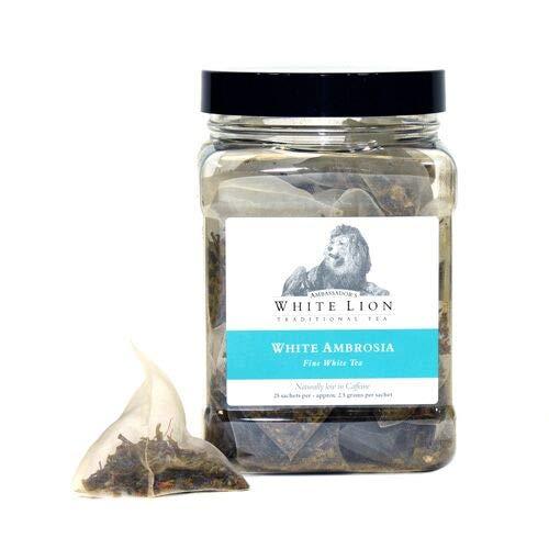 White Lion Tea - White Ambrosia 25 Tea Sachets, White Tea, Low In Caffeine