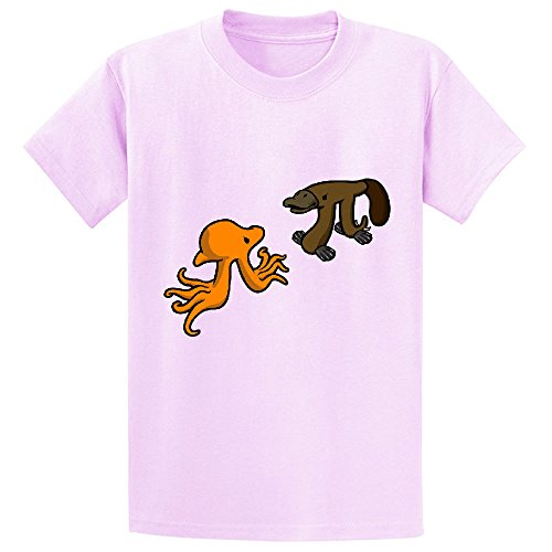 Octopi Vs Platypi Girls Crew Neck Graphic Shirts Pink