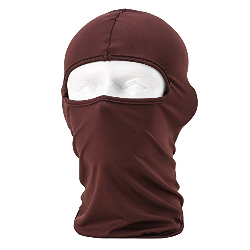 Dorlaer Motorcycle Cycling Hood Hat Balaclava Full Face Mask For Sun UV Protection (Coffe) (Skull Sock Mask)