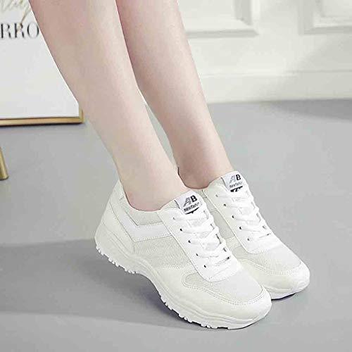 Chaussures Blanc Montante À Compensée Femmes Sneakers Lacets Baskets Sport Mode De Pour Femme Air mounter UqAExwIax