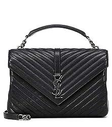 Yiyi Ysl Women S Medium Black College Patchwork Suede Leather Shoulder Bag New