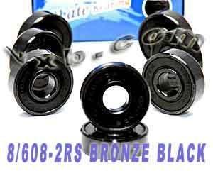 VXB 8 Skateboard Bearing Bronze Cage Sealed Black Ball Be...