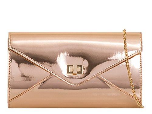 Ladies Clutch Patent Bag Women's Champagne Evening Leather KL2052 Cocktail Bridal Handbag Party q4fCxq