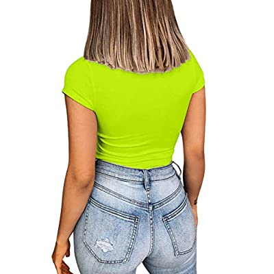 YMDUCH Women's Square Neck Short Sleeve Solid Leotards Basic Top Bodysuit: Clothing