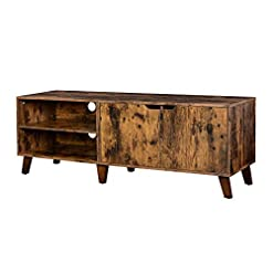 Farmhouse Living Room Furniture VASAGLE TV Stand for TVs up to 60 Inches, TV Cabinet with 2 Doors, Adjustable Shelves, TV Table, for Living Room… farmhouse tv stands
