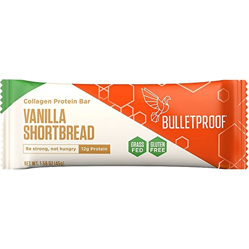 Bulletproof Bars Collagen Protein, Perfect Snack for Keto Diet, Paleo, Gluten-Free, for Men, Women, and Kids (Vanilla Shortbread)