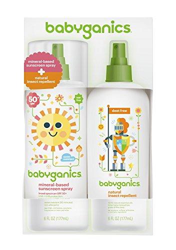 Babyganics base Mineral bebé protector solar Spray SPF 50, 6oz botella de Spray + Natural repelente de insectos 6oz Spray botella Combo Pack