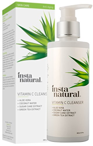 Vitamin C Facial Cleanser - Anti Aging, Breakout & Blemish, Wrinkle Reducing, Exfoliating Gel Face Wash - Clear Pores on Oily, Dry & Sensitive Skin with Organic & Natural Ingredients - 6.7 oz (Natural Face Wash)