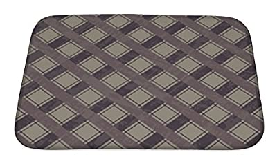 Gear New Plaid Pattern Bath Rug Mat No Slip Microfiber Memory Foam